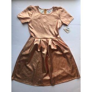 Lularoe Amelia Rose Gold Metallic Dress